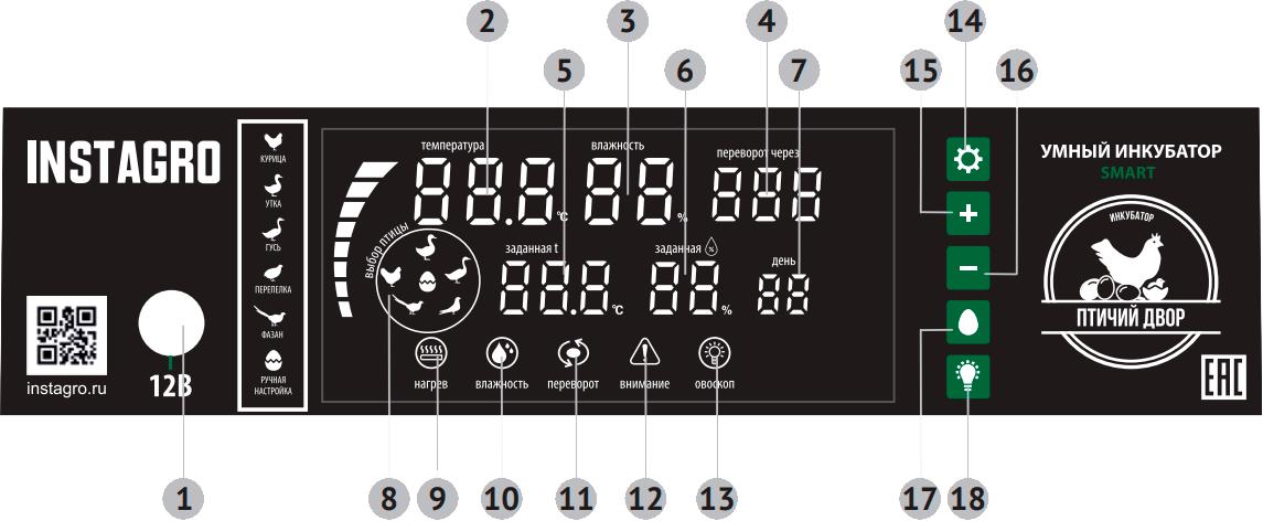 Панель управления инкубатора «Птичий Двор» модель S-64